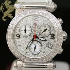 0.85ct Ladies Aqua Master Genuine Diamond Watch diamond Cut Dial W/ White Band