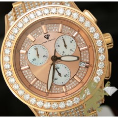 32.00ct Aqua Master Genuine Diamond Watch rose Tone Fully Iced Power