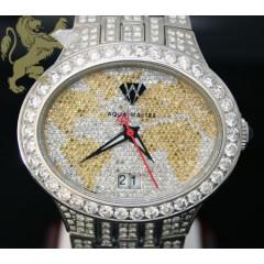 12.05ct Aqua Master Genuine canary & White Diamond World Watch