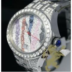 12.05ct Aqua Master Genuine multi Color Diamond Stripes Watch