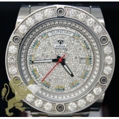 9.60ct Mens Aqua Master Genuine Diamond two Tone Diamond Face/bezel Automatic Power Watch