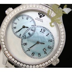 2.45ct Aqua Master Genuine Diamond Watch white & Blue Pearl Dial/ 2 Time Zones