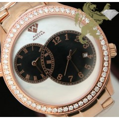 2.45ct Aqua Master Genuine Diamond Watch rose Tone 2 Time Zones