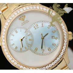 2.45ct Aqua Master Genuine Diamond Watch yellow Case W/ Blue Pearl Dial/ 2 Time Zones