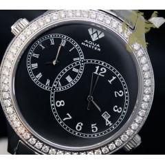 2.45ct Mens Aqua Master Genuine Round Diamond 2 Time Zones Black Dial Watch