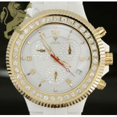 2.85ct Mens Aqua Master Genuine Diamond Watch white Ceramic/ Yellow S.s. Bezel