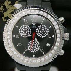 2.85ct Mens Aqua Master Genuine Diamond Watch black Ceramic/ White S.s. Bezel