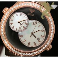 2.45ct Mens Aqua Master Genuine Round Diamond 2 Time Zones Black & White Pearl Dial Rose S.s Watch