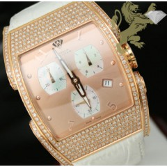 3.25ct Aqua Master Genuine Diamond Watch rose Case With Rose Dial