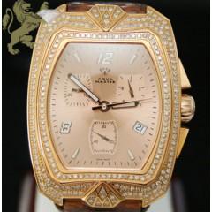 2.50ct Mens Aqua Master Genuine Diamond Watch rose Aqua Diamond W/ Brown Band