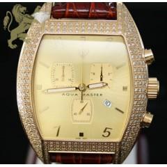 3.50ct Mens Aqua Master Genuine Diamond Watch yellow Xl Case W/ Brown Band