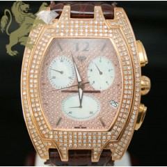 3.50ct Aqua Master Genuine Diamond Watch rose Case W/ Large Diamonds