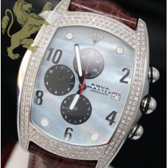 2.50ct Aqua Master Genuine Diamond Watch blue Pearl /white Muller Case
