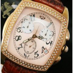 1.50ct Mens Aqua Master Genuine Diamond Watch rose Bubble W/ Brown Band