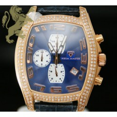 2.00ct Mens Aqua Master Genuine Diamond Watch dark Blue Dial & Rose Case