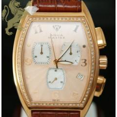 1.00ct Mens Aqua Master Genuine Diamond Watch rose Muller Case W/ Brown Band