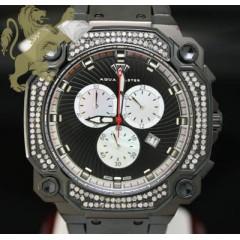 0.75ct Mens Aqua Master Genuine Diamond black Cargo Watch