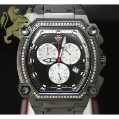 0.75ct Mens Aqua Master Genuine Diamond black Cargo One Row Diamonds Watch