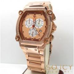 0.75ct Mens Aqua Master Genuine Diamond rose Cargo One Row Diamonds Watch