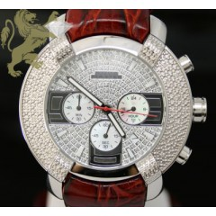 0.20ct Aqua Master Genuine Diamond Watch white Ornament W/ Brown Band
