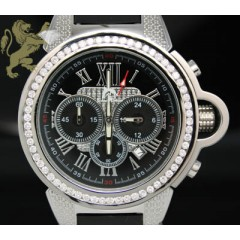 2.50ct Mens Techno Master Genuine Diamond Watch 1 Row Round Channel Bezel