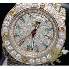 17.00ct Mens Aqua Master Genuine Diamond yellow Full Ice Automatic Power Watch