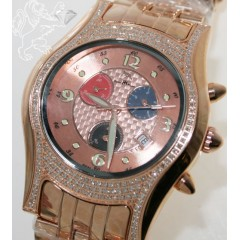 1.50ct Mens Techno Master Genuine Diamond Watch rose Exotic