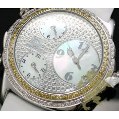 2.50ct Mens Techno Master Genuine Diamond Watch canary 3 Time-zones
