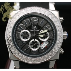 1.00ct Mens Techno Master Genuine Diamond Watch zig Zag S.s. Rubber Band