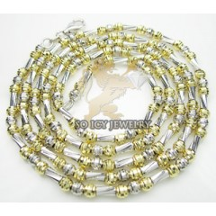 14k Two Tone Gold Diamond Cut fancy Ball Chain 16-30 Inch 4 Mm