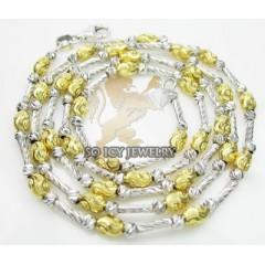 14k Two Tone Gold Diamond Cut oval Chain 16 Inch 2.8 Mm