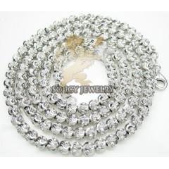 14k White Gold Diamond Cut ball Chain 20-24 Inch 4mm