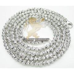 14k White Gold Diamond Cut ball Chain 20 Inch 3mm