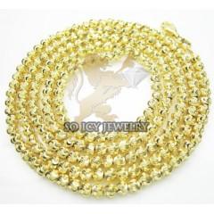 14k Yellow Gold Diamond Cut ball Chain 24 Inch 3 Mm