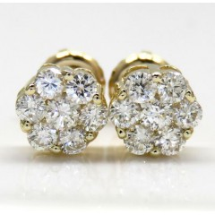 0.75ct 14k Yellow, White, Rose Gold Round Cluster Diamond Studs