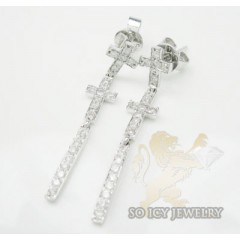 0.50ct 14k White Gold Round Diamond cross Earrings