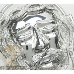 2.40ct 14k White Gold Diamond jesus Pendant