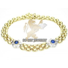 Ladies 14k Yellow Fancy Italian Gold & Diamond Bracelet