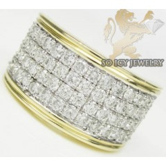 2.50ct 14k Yellow Gold Round Diamond 4 Row Band