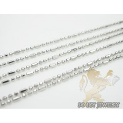 Ladies 14k White Gold Long Ball Link Chain 20 Inch 1mm