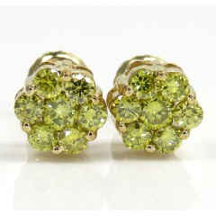 0.75ct 14k Yellow Gold Diamond canary Cluster Studs