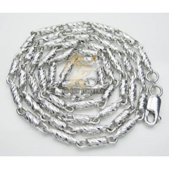 14k White Gold Diamond Cut solid Bullet Chain 18-30 Inch 3mm