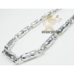 14k White Gold Diamond Cut solid Bullet Chain 24 Inch 3mm