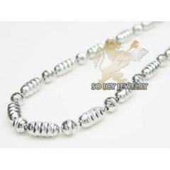 14k White Gold zig Zag Cut Long Ball Chain 16-30 Inch 2.2mm