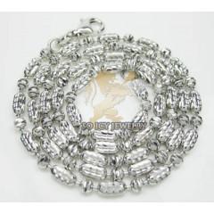 14k White Gold diamond Cut Long Ball Chain 30 Inch 2.5mm