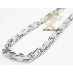 14k White Gold diamond Cut Hexagon Bullet Chain 18 Inch 3mm
