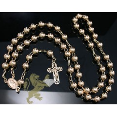 14k Solid Yellow Gold rosary Xl Ball & Cross Chain 30 Inch 8mm