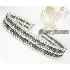 Ladies 14k Black & White Gold Fancy 5 Rows Bangle Bracelet