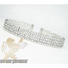 Ladies 14k Black & White Gold Fancy 4 Row Bangle Bracelet