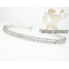 Ladies 14k White Gold Fancy 2 Row Bangle Bracelet